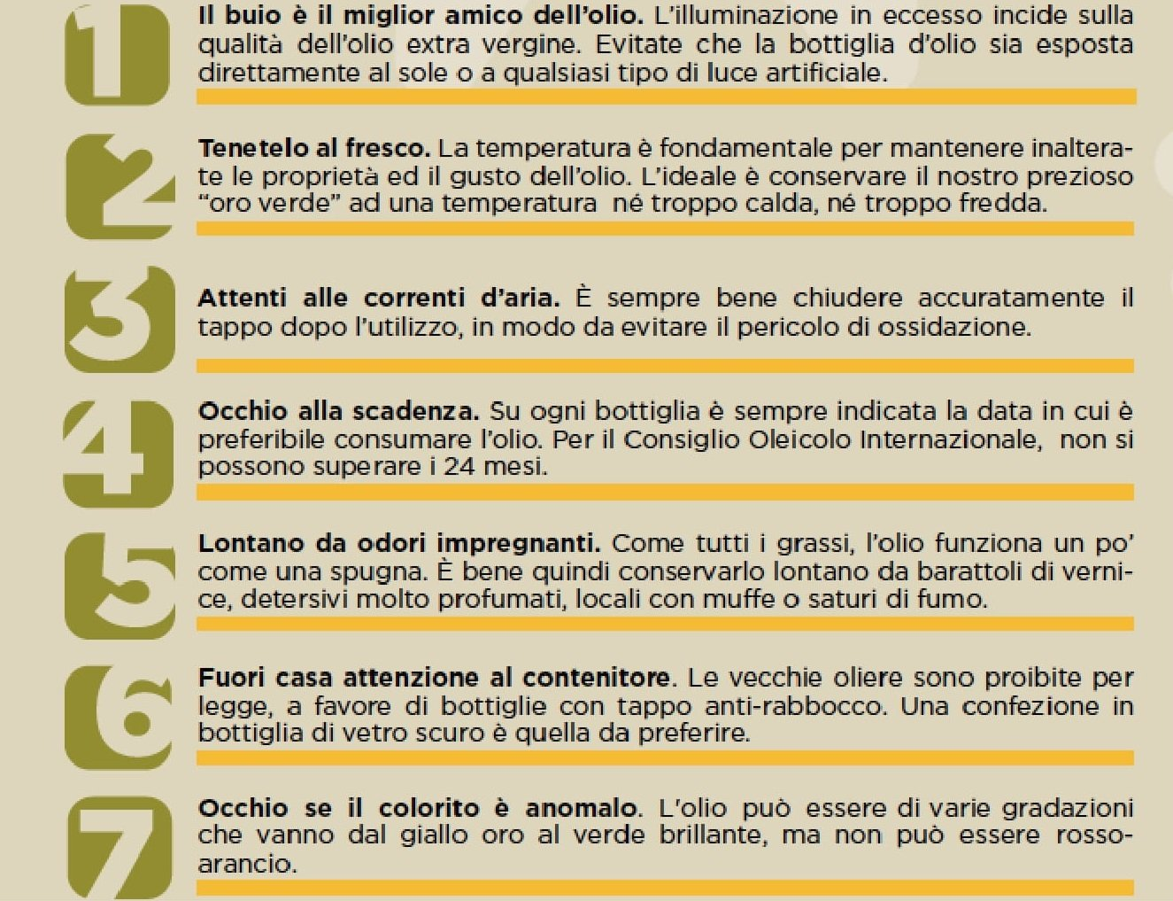 7 regole per conservare olio di oliva